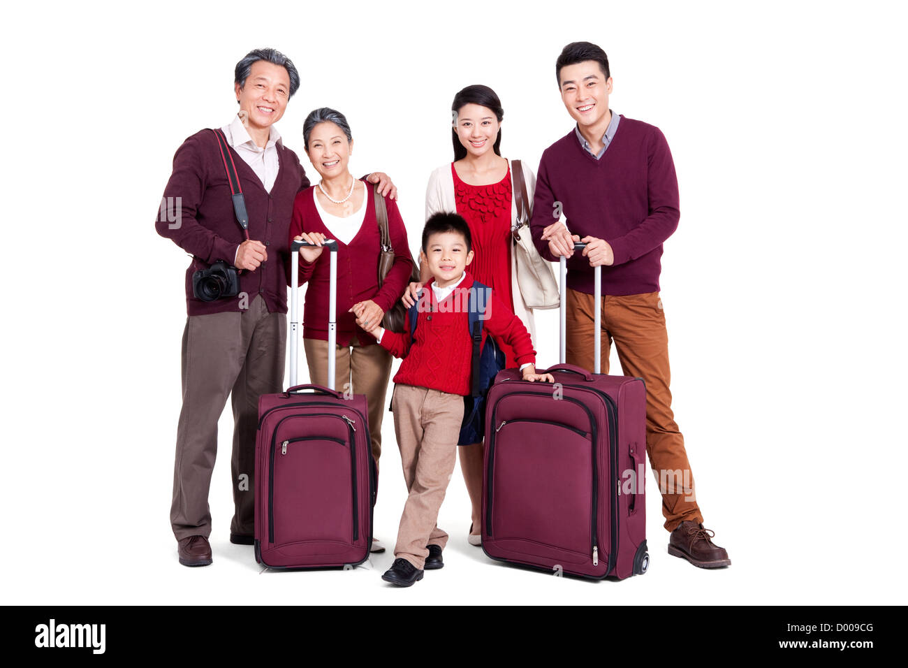 Joyful family going for a vacation - Stock Image