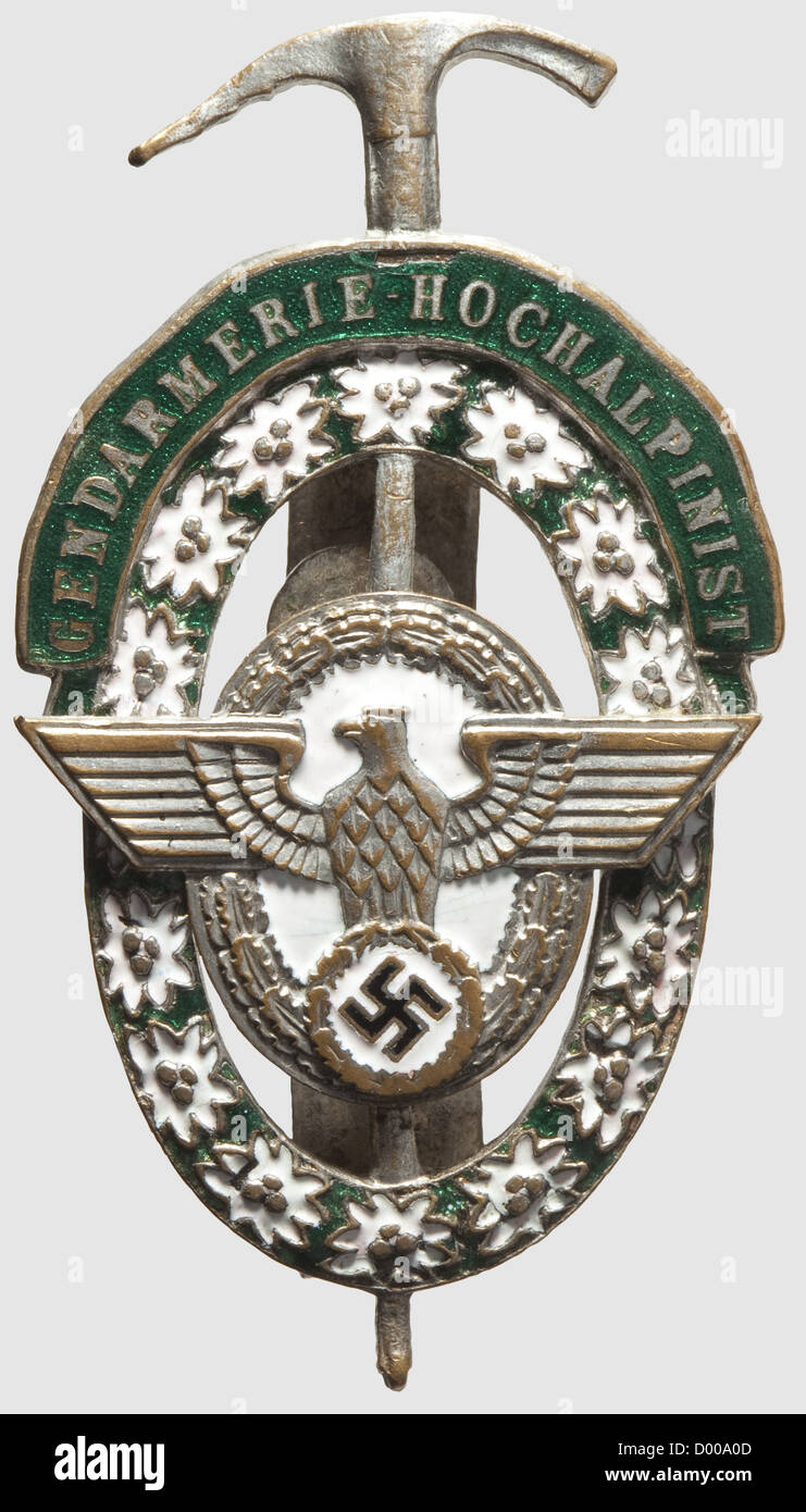 A Gendarmerie High Alpine Expert Badge, Silvered and enamelled, separately applied eagle, reverse two vertical attachment - Stock Image