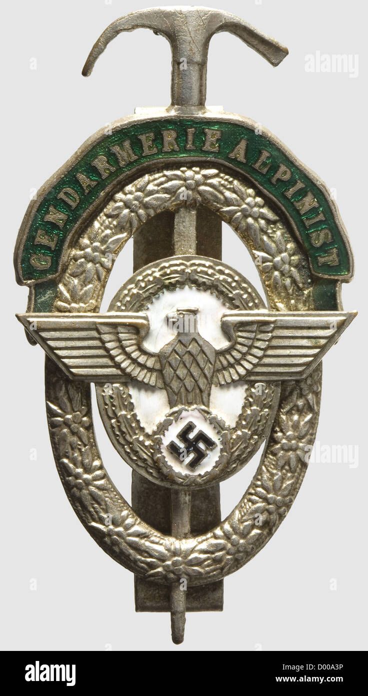 A Gendarmerie Alpine Expert Badge, Silvered and partly enamelled, separately applied eagle, reverse two vertical - Stock Image