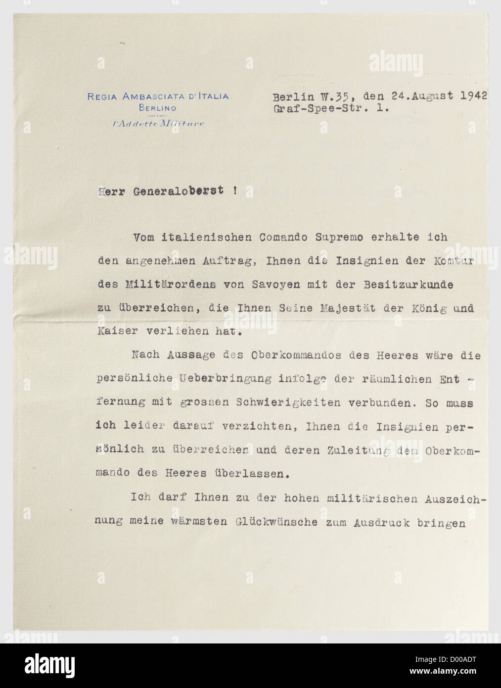 Generalfeldmarschall Ewald von Kleist - Appointment to Generaloberst, Document with folder dated 19 July 1940. Double - Stock Image