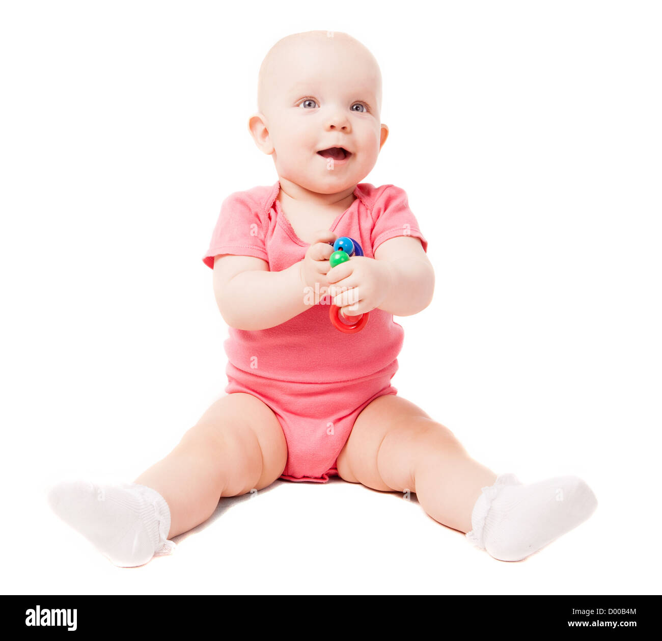 cute baby playing with  a pyramid - Stock Image