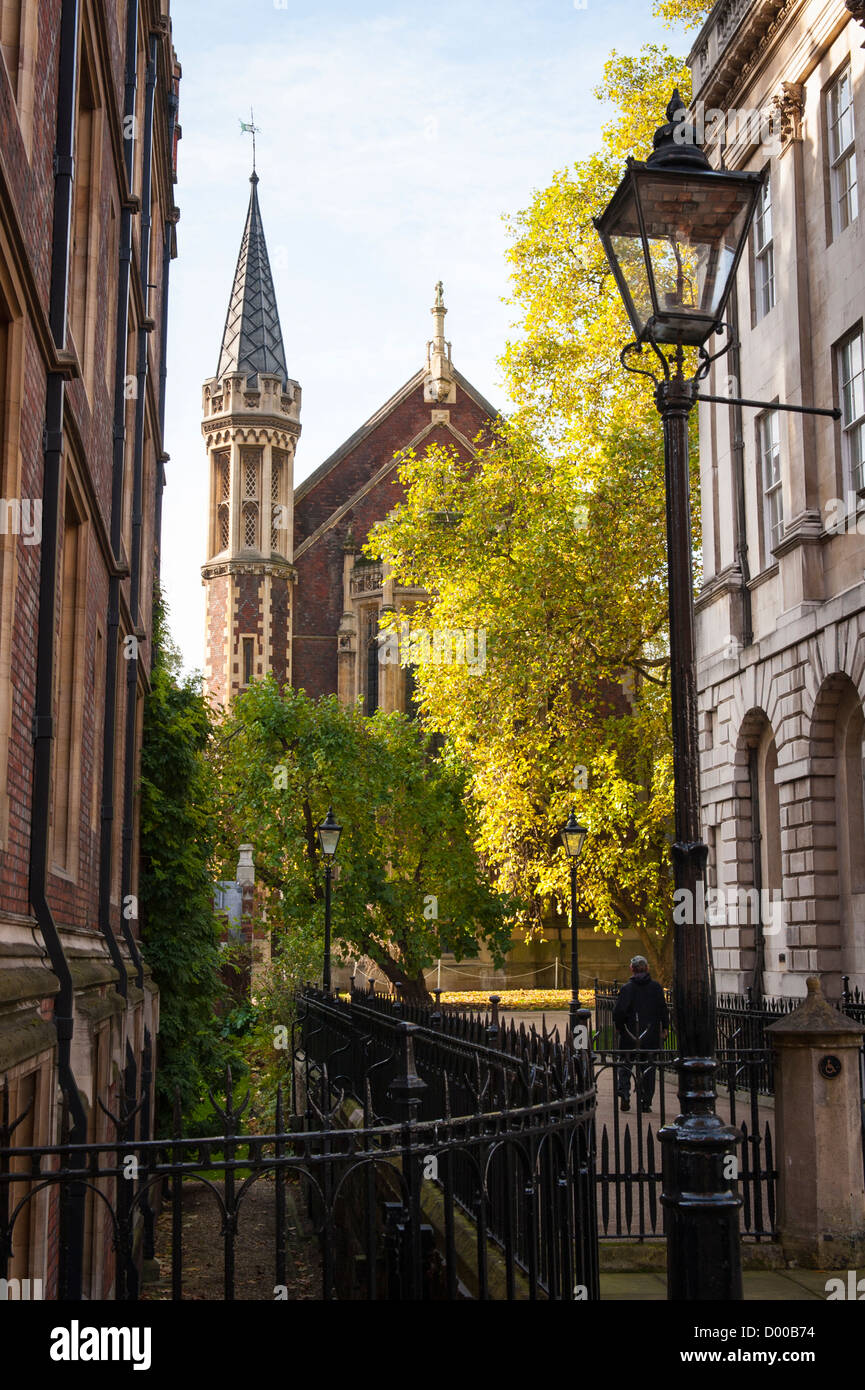 London Lincolns Inn High Holborn view from Old Square chambers to the Chapel built 1623 by Inigo Jones gardens railings - Stock Image