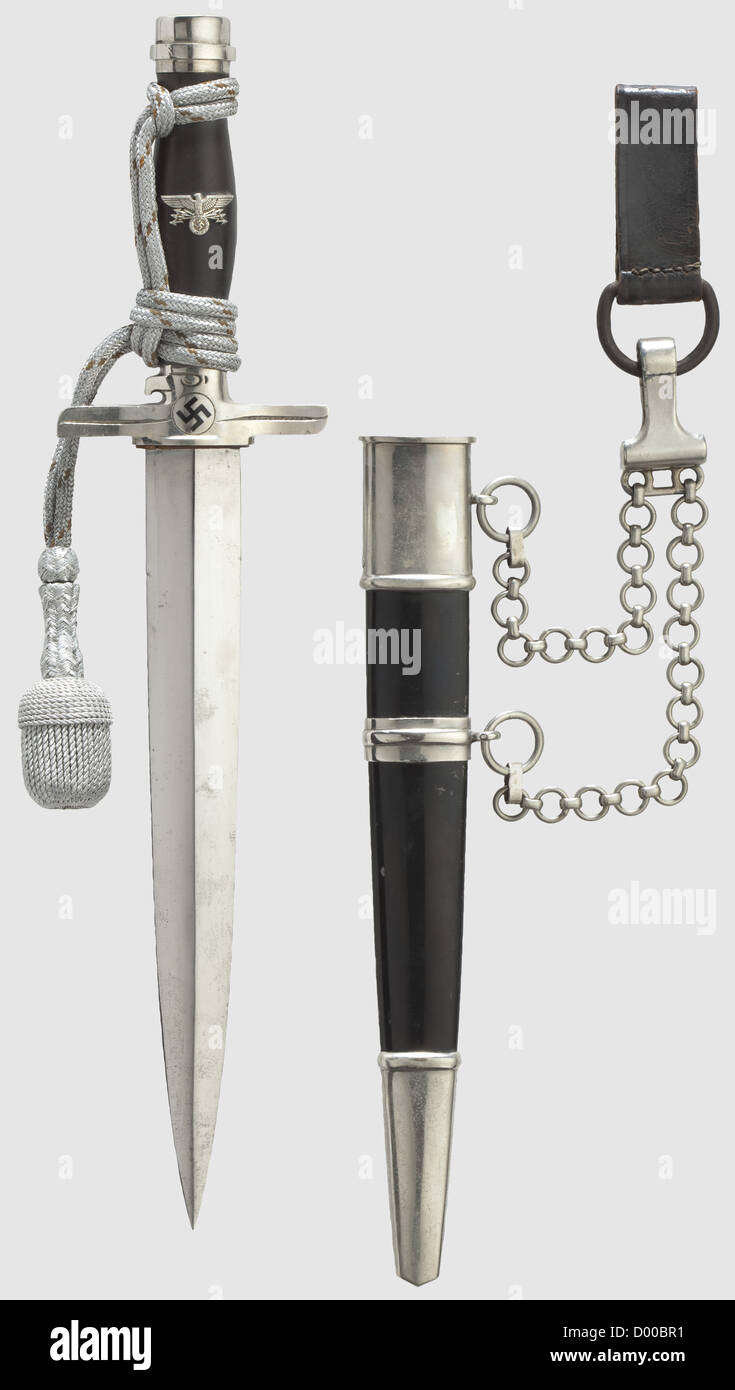 A model 1939 dagger for a leader of the Postal Protection with suspension and portepee, Maker Paul Weyersberg & - Stock Image