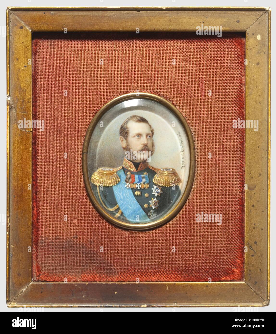Tsar Alexander II - Alois Gustav Rockstuhl, Russian. A miniature portrait of the Tsar in uniform. Gouache on ivory, - Stock Image