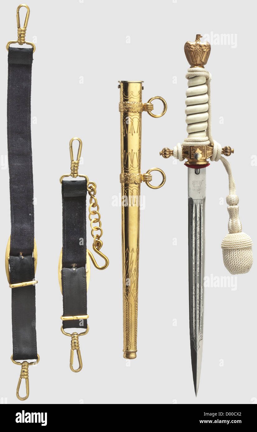 A model 1938 dagger for naval officers with portepee and hanger, Maker Alcoso, Solingen Nickel-plated blade with - Stock Image