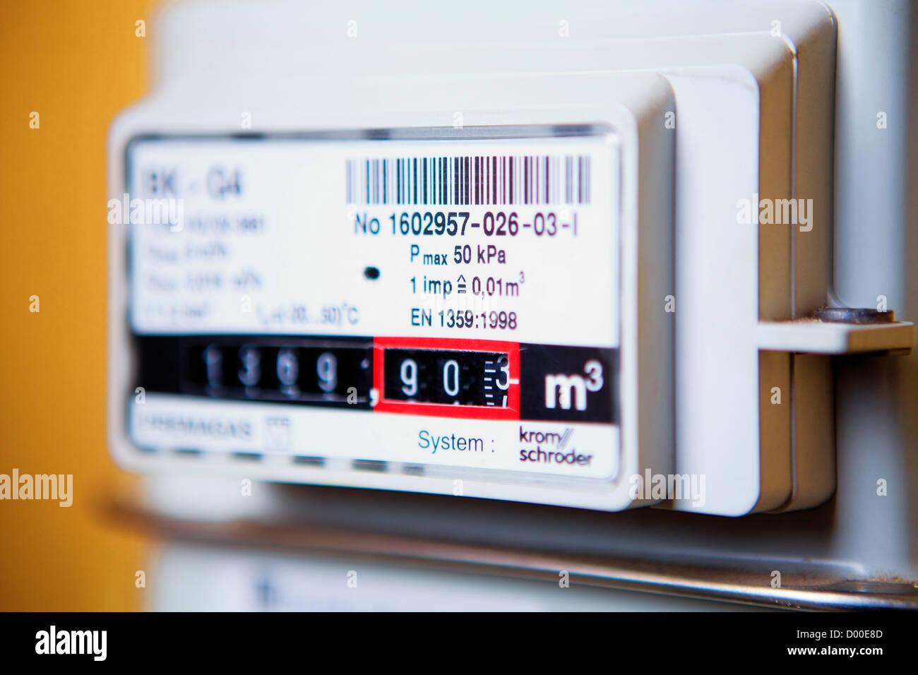 closeup of a gas meter in Czech Republic - Stock Image