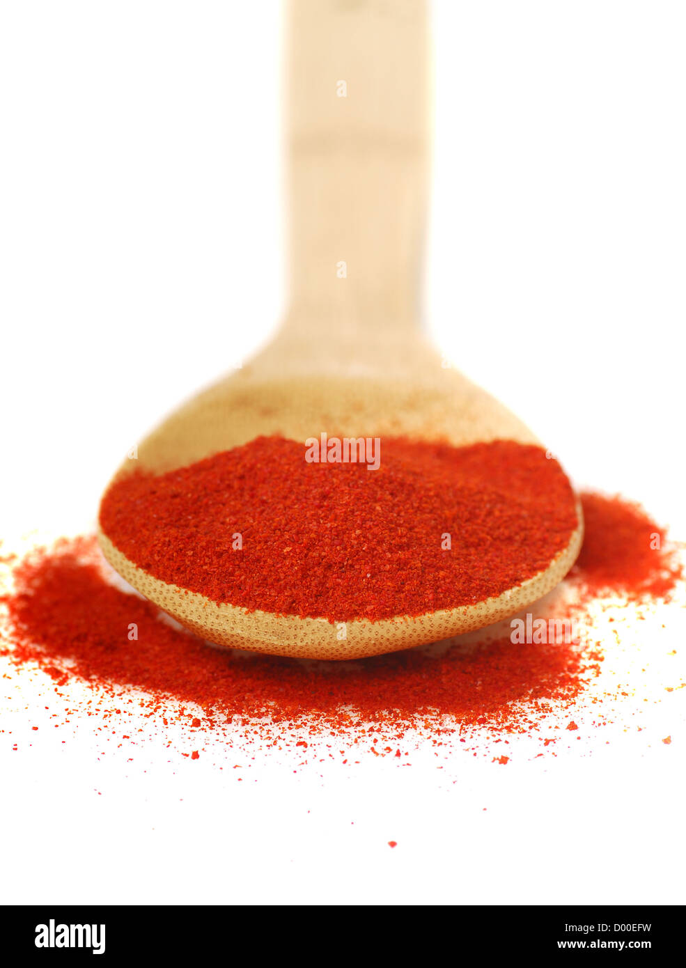 Finely ground smoky Hungarian paprika on a spoon - Stock Image