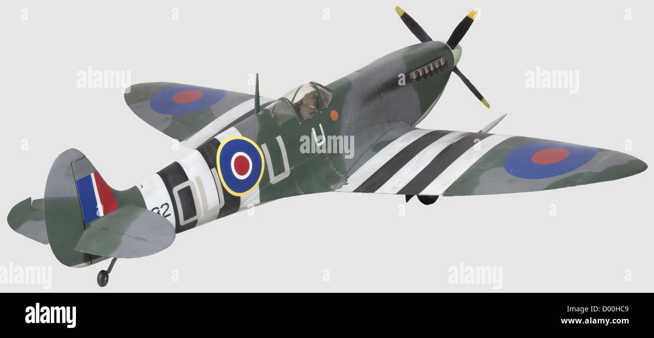 A Supermarine 'Spitfire', A well-built flying scale model of 'Spitfire' Mk.IX MK 732 OU - U, finished - Stock Image