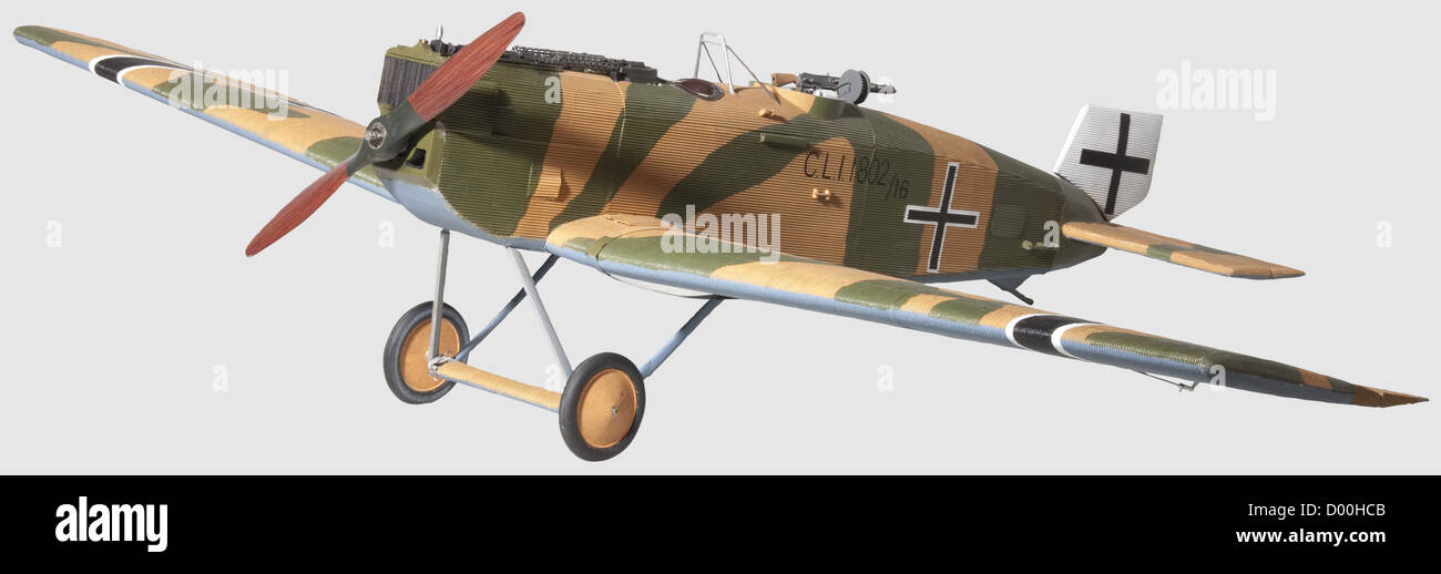 A Junkers type C.L.I, 1802/16, A flying scale model, the composite airframe finished in green over sand with pale - Stock Image