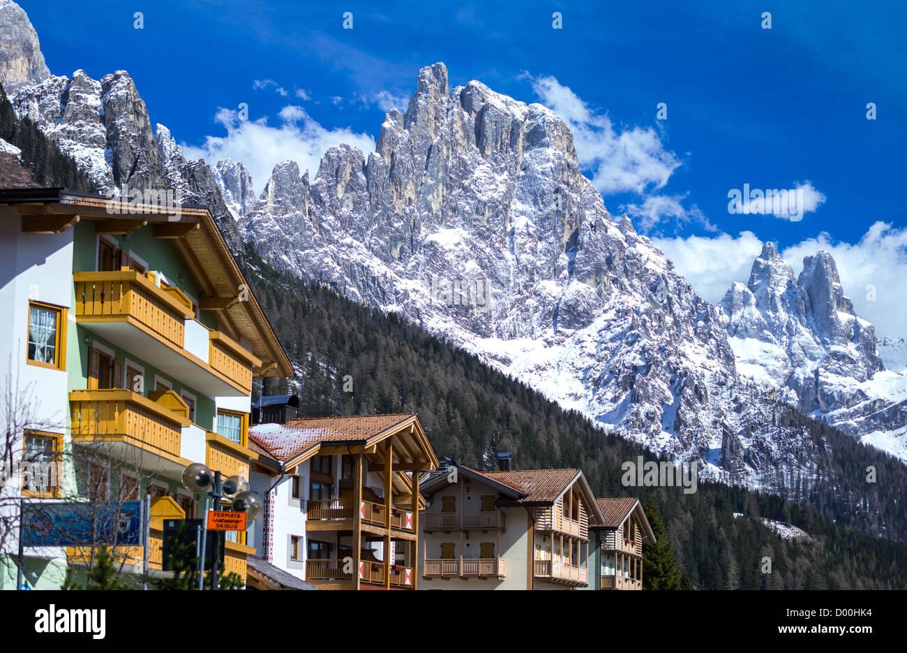 Italy, Dolomites, Trentino Alto Adige, the houses of San Martino di Castrozza Stock Photo