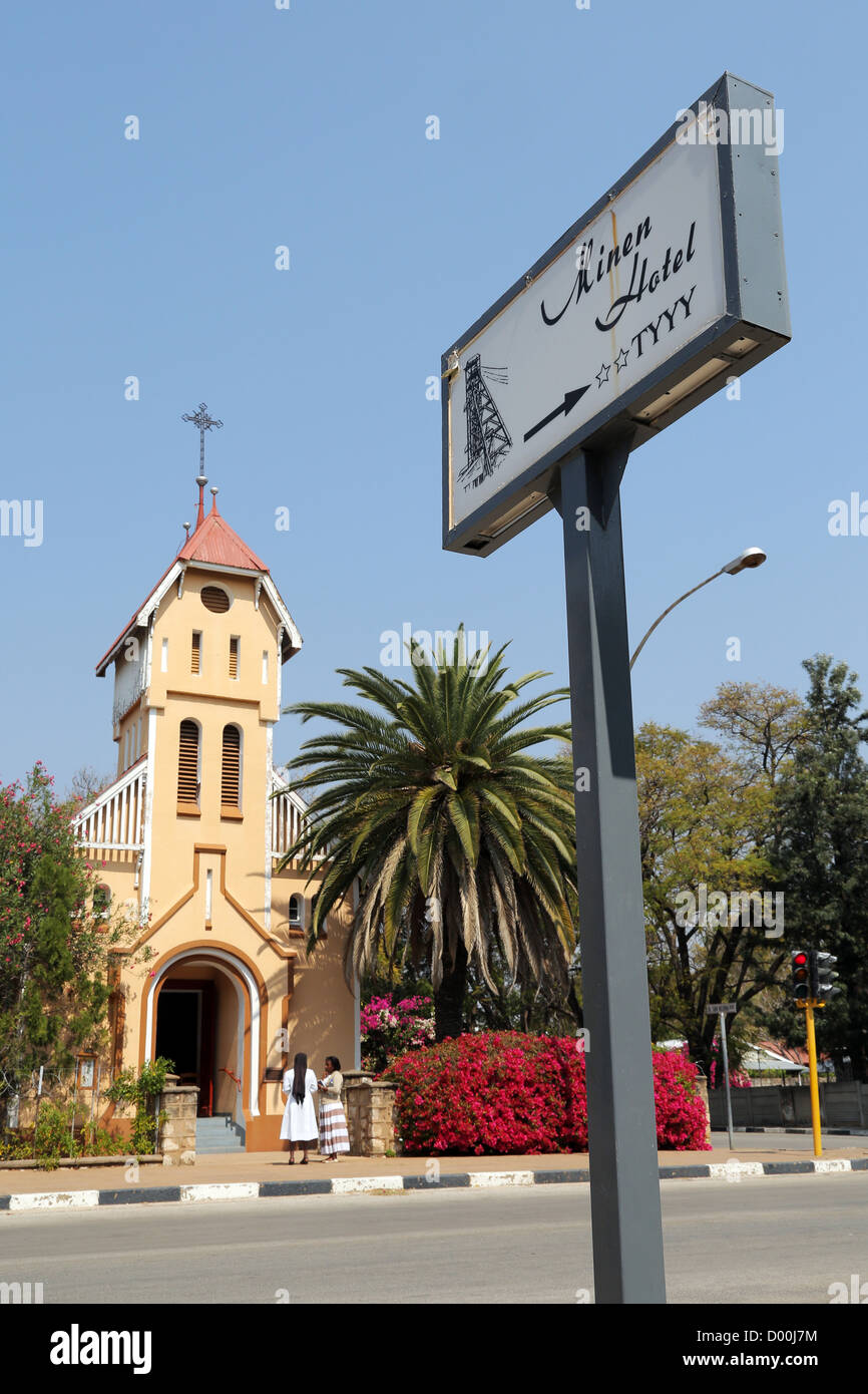 St. Barbara catholic church in Tsumeb, Namibia - Stock Image