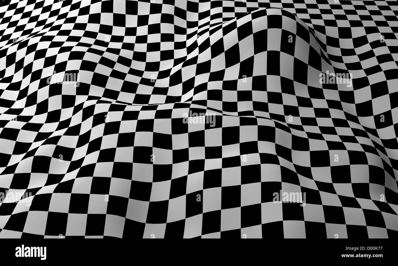 Four-tile repeat of a wavy seamless checkered pattern. - Stock Image