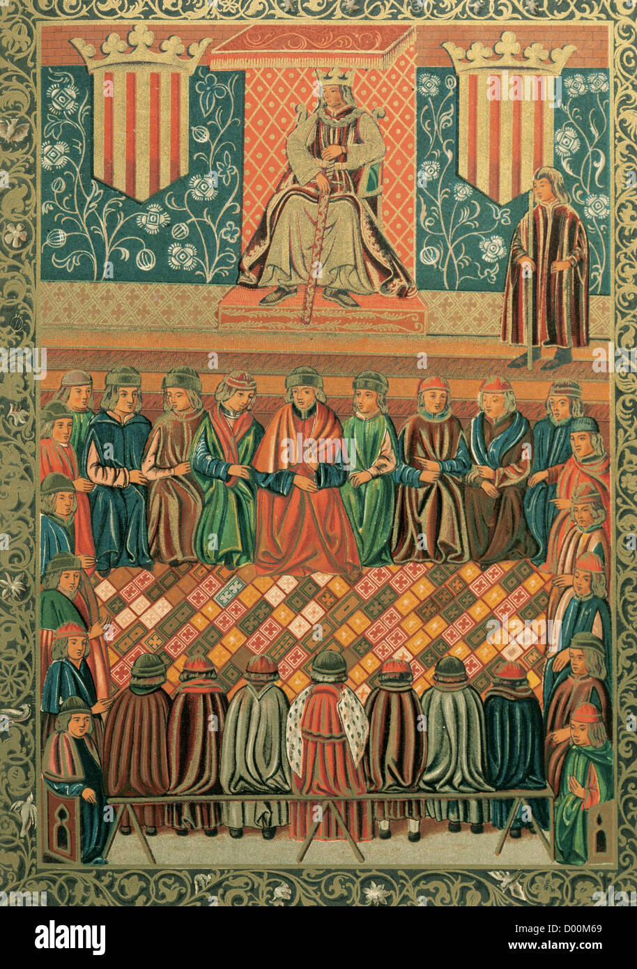James I the Conqueror (1208-1276) presiding Lleida Courts in March, 1242. Constitutions and other rights of Catalonia. - Stock Image