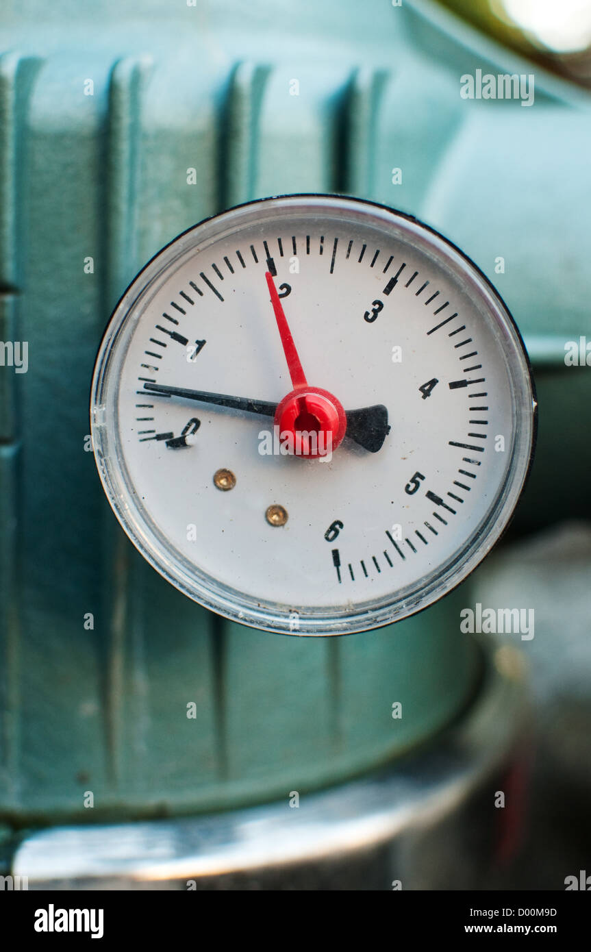 Pressure gauge, measuring instrument close up image - Stock Image