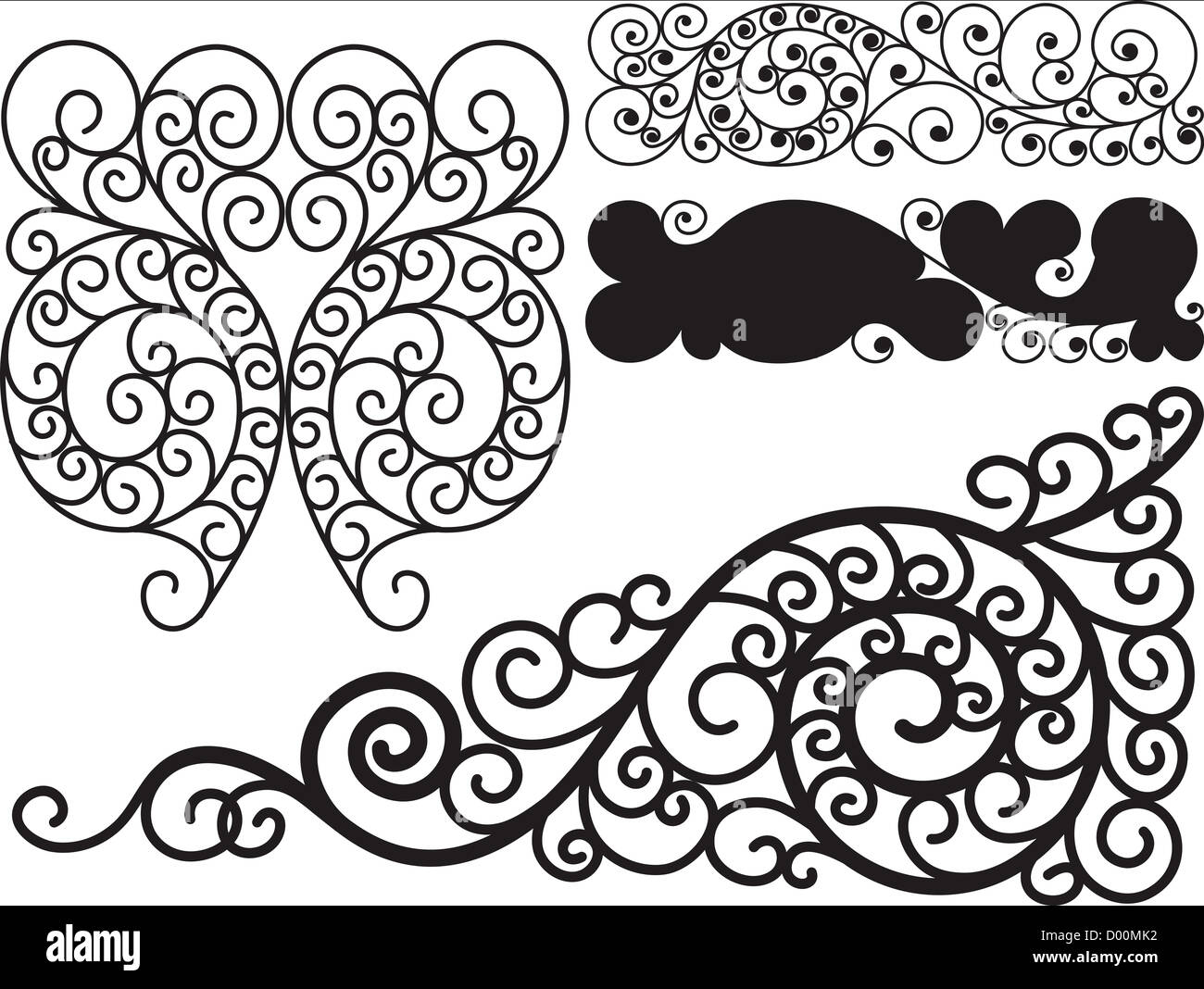 Black and white swirls - Stock Image