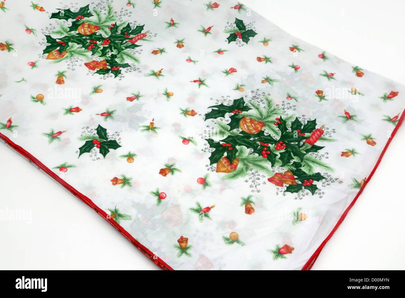 Christmas Tablecloth - Stock Image