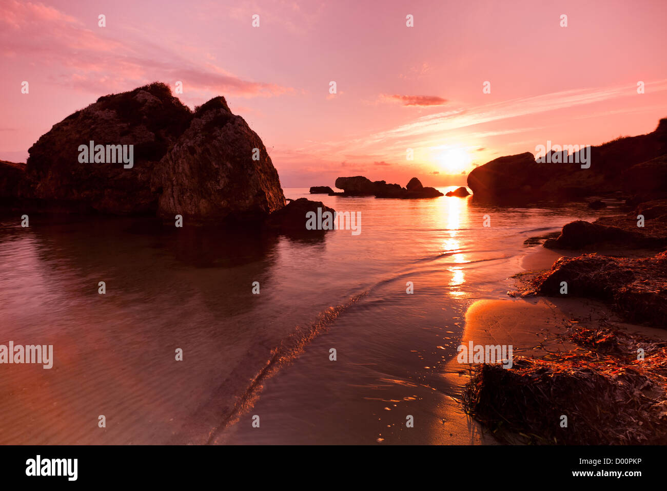 Porto Zoro beach sunrise - Stock Image