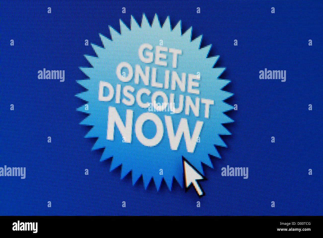 Close up of a fictional website featuring a flash lozenge indicating that an online discount is available. - Stock Image
