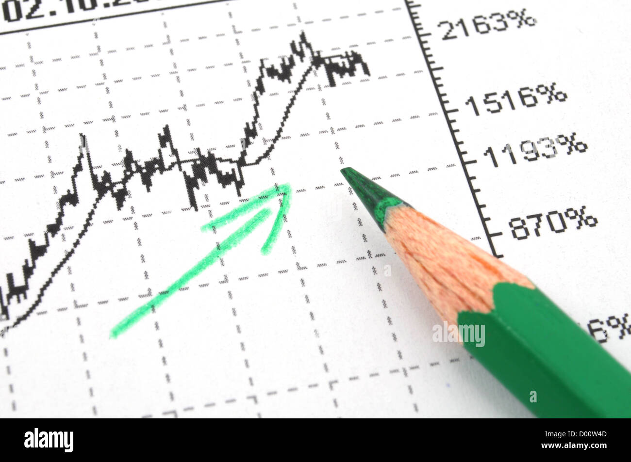 financial success concept with business chart diagram or graph showing growth - Stock Image