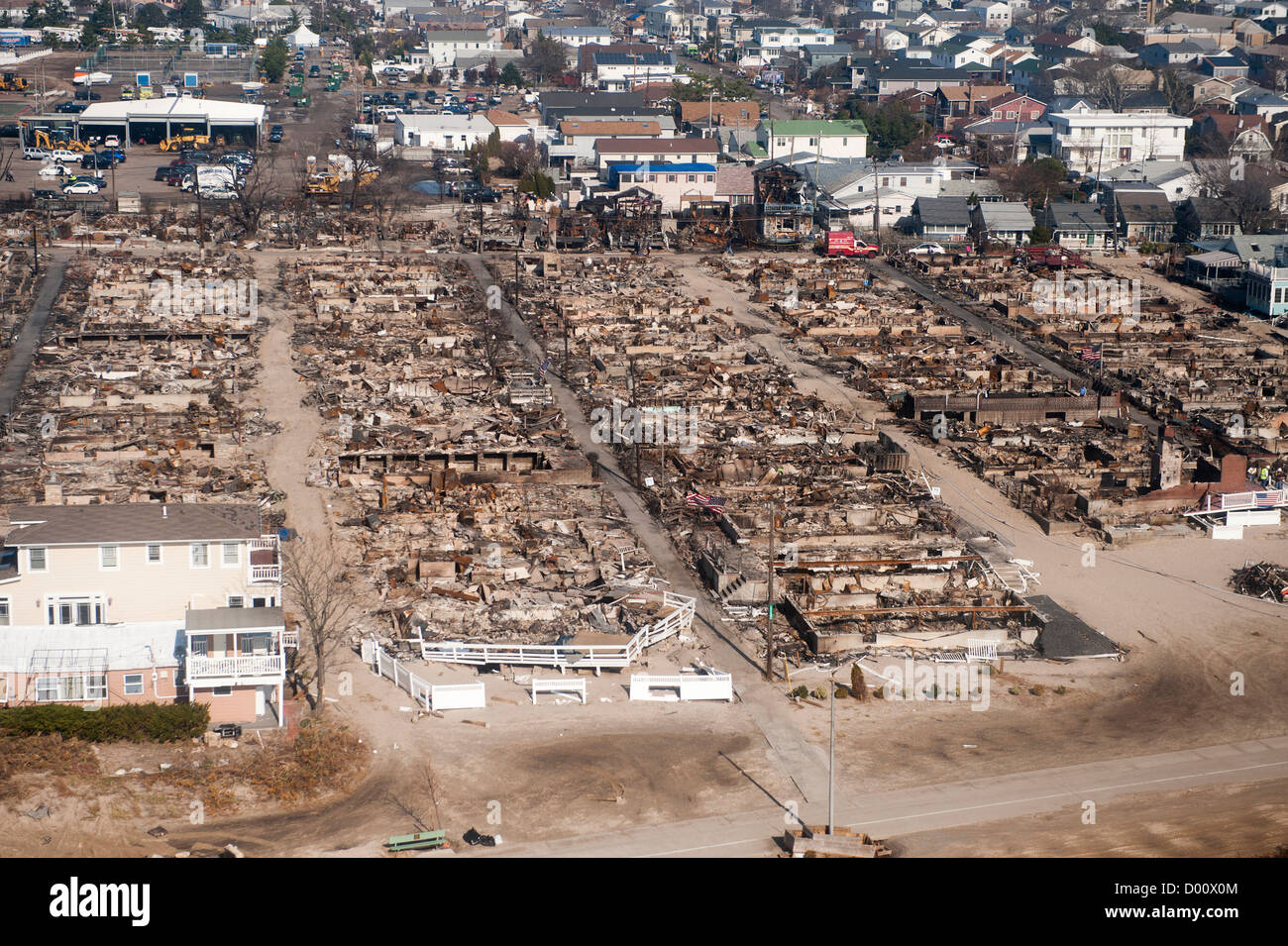 Aerial view of the of widespread devastation after Hurricane Sandy November 12, 2012 in Breezy Point, NY. - Stock Image