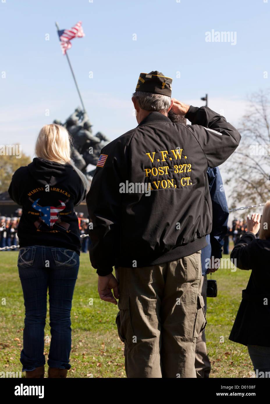 US military veteran saluting the American flag - Stock Image