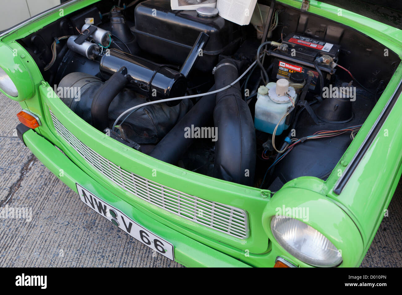 Trabant two-stroke engine East German car - Stock Image