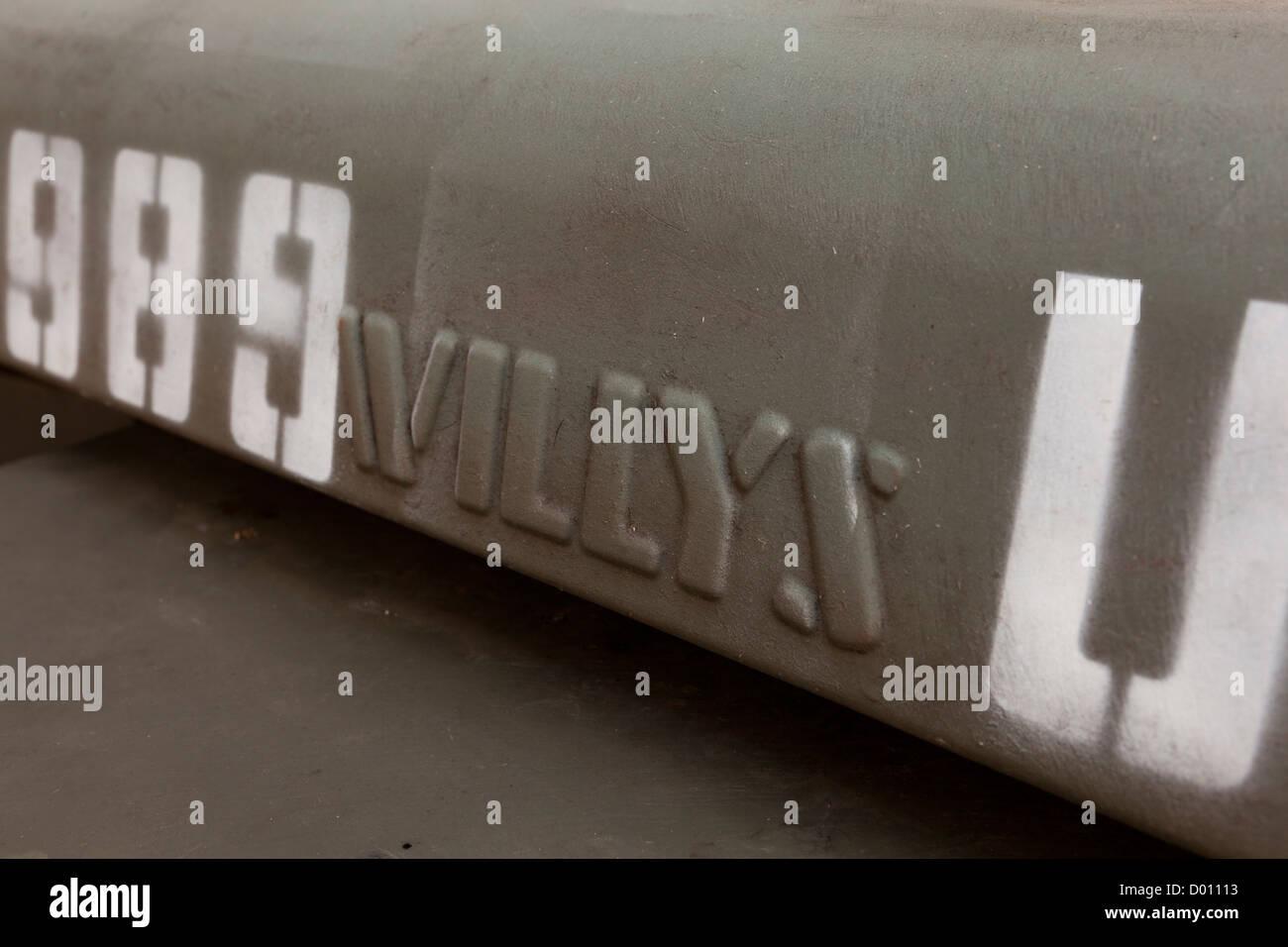 WWII era Willys Jeep hood - Stock Image