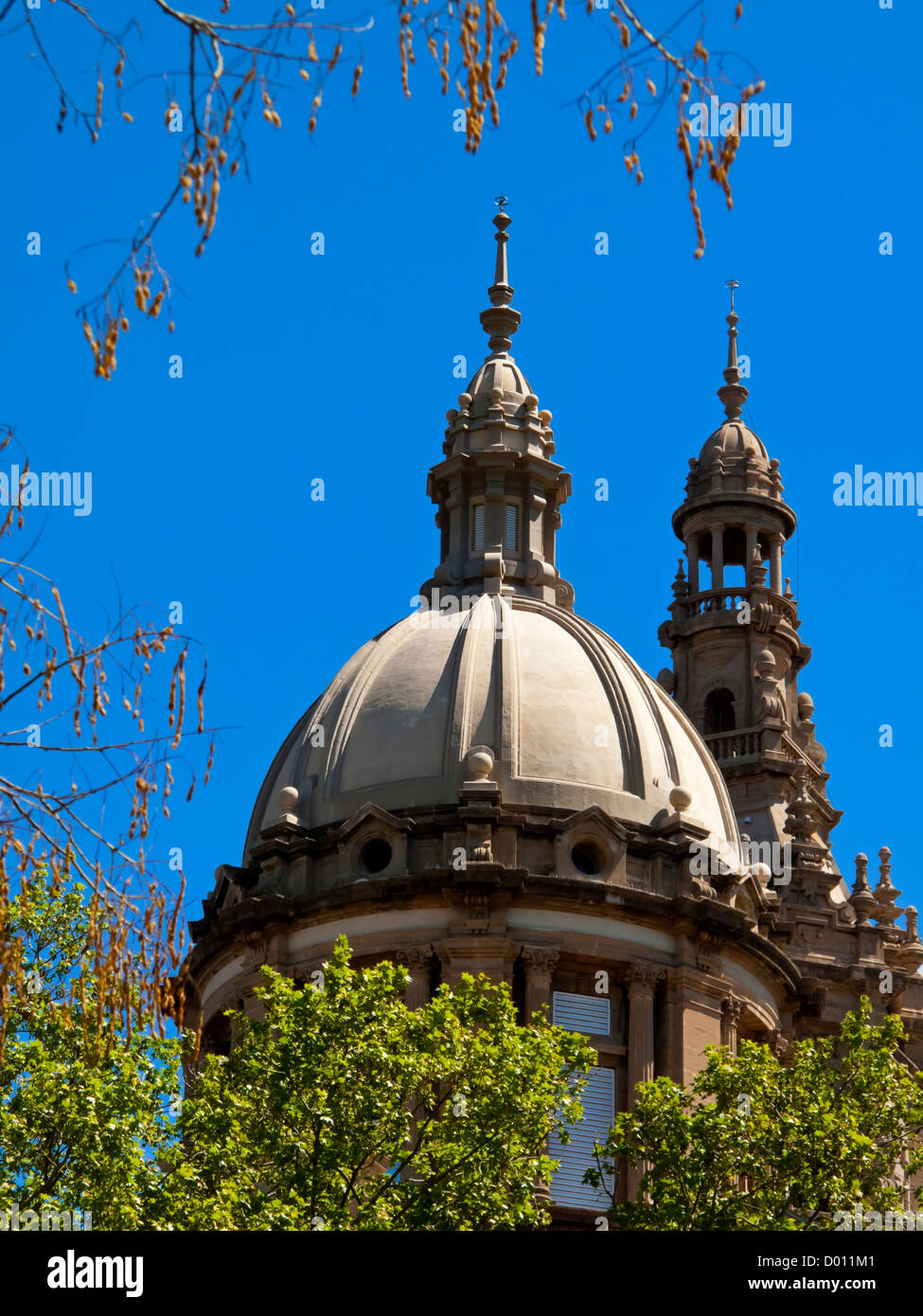 View of dome of MNAC museum and art gallery at Montjuic in Barcelona city centre Catalonia Spain - Stock Image