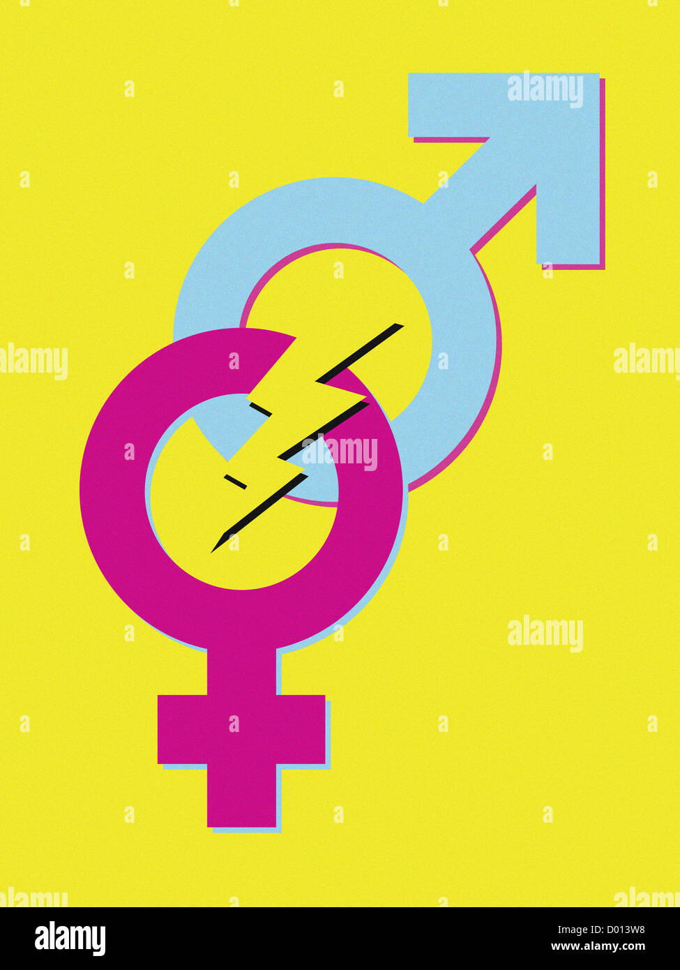 Male And Female Symbols With Lightning In Between Stock Photo