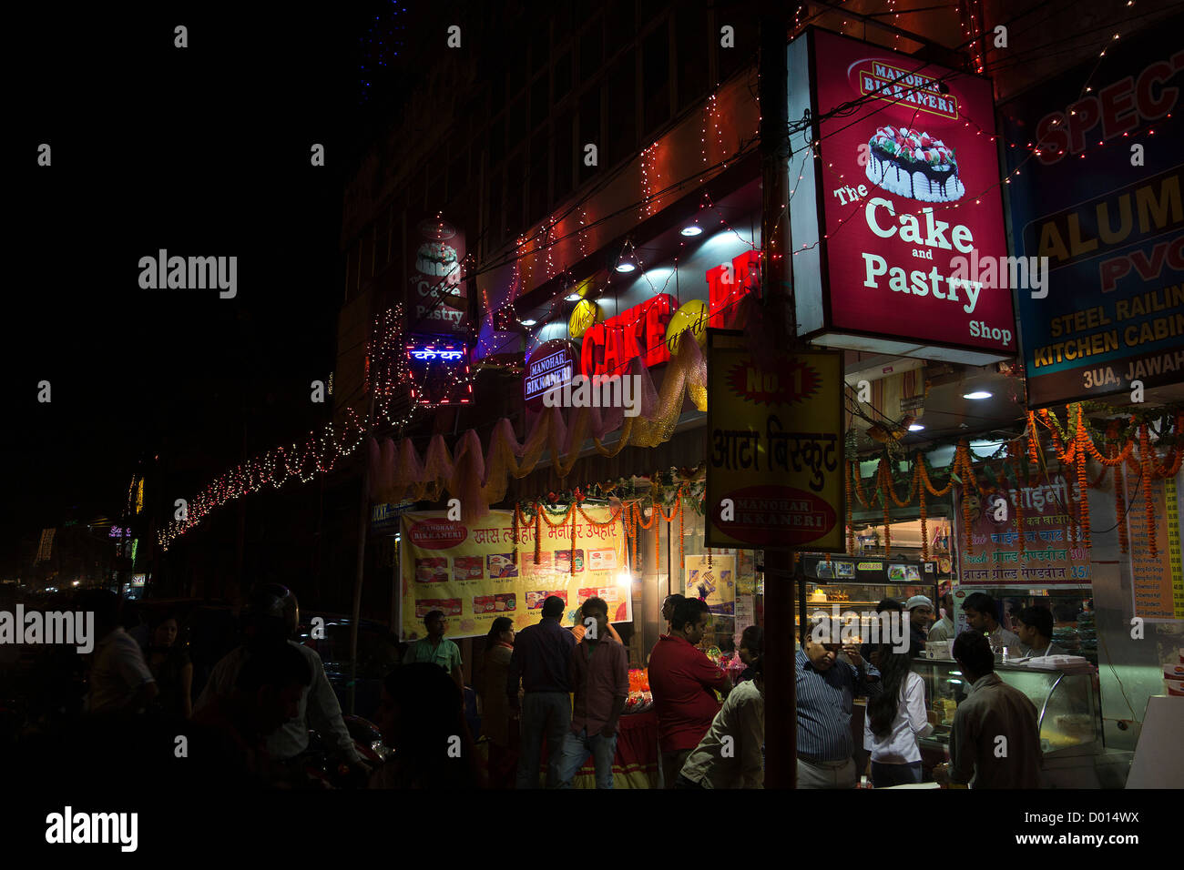 Kamla Nagar Market Old Delhi Business Commercial Hub Center Shops Showrooms Vendors Night Scene Crowd - Stock Image