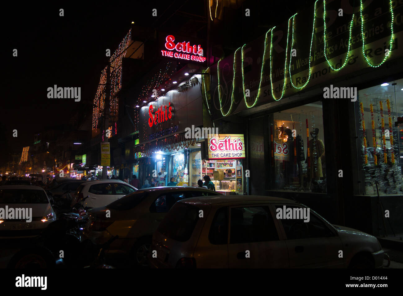 Kamla Nagar Market Old Delhi Business Commercial Hub Center Shops Showrooms Vendors Night Scene - Stock Image