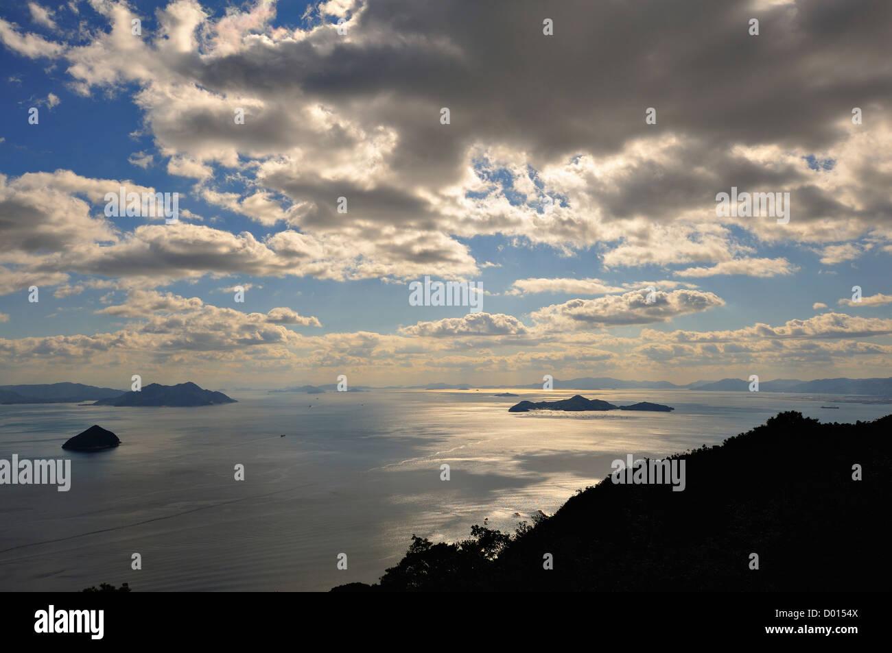 Seto Inland Sea from the summit of Mt Misen on the island of Miyajima, Japan - Stock Image