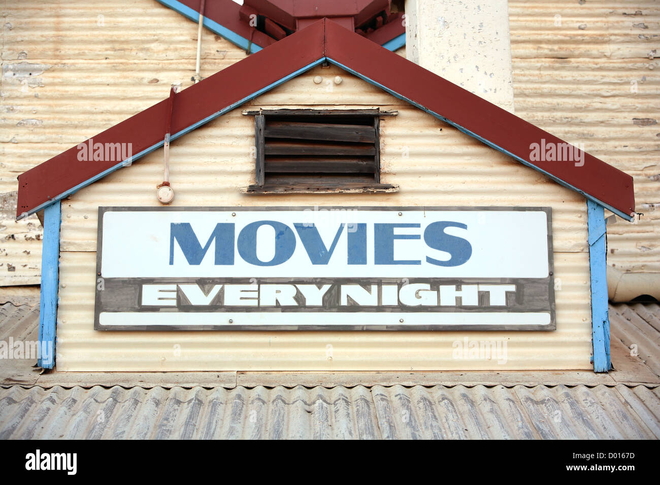 Heritage listed Sun Pictures movie theater made of corrugated steel. Broome, Western Australia. - Stock Image