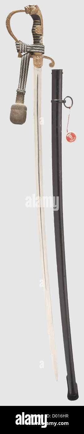 A lion's head sabre for army officers with portepee and manufacturer's tag, Maker WKC, Solingen Beautiful - Stock Image