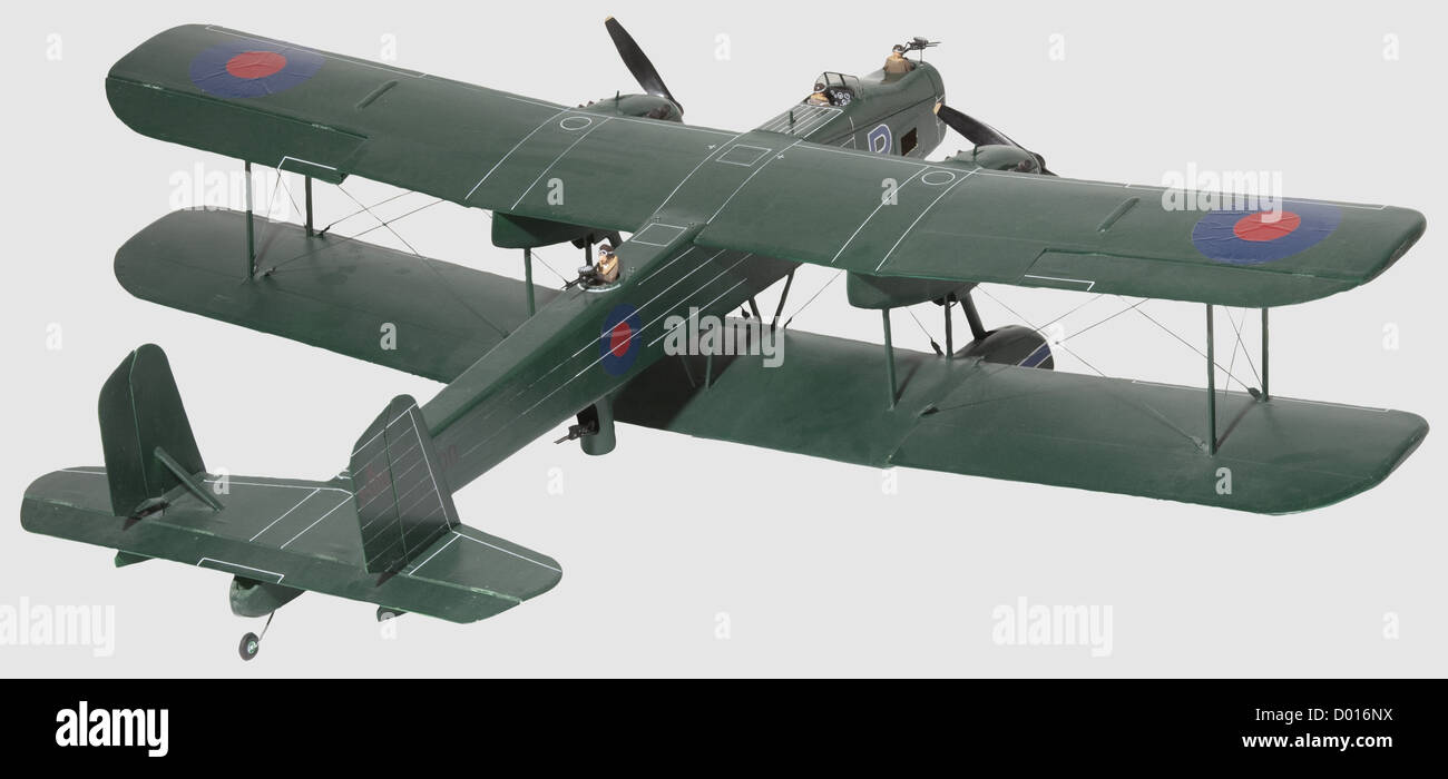 A Handley Page 'Heyford' K 3500, Well constructed model, the wooden fuselage painted in rich green with - Stock Image