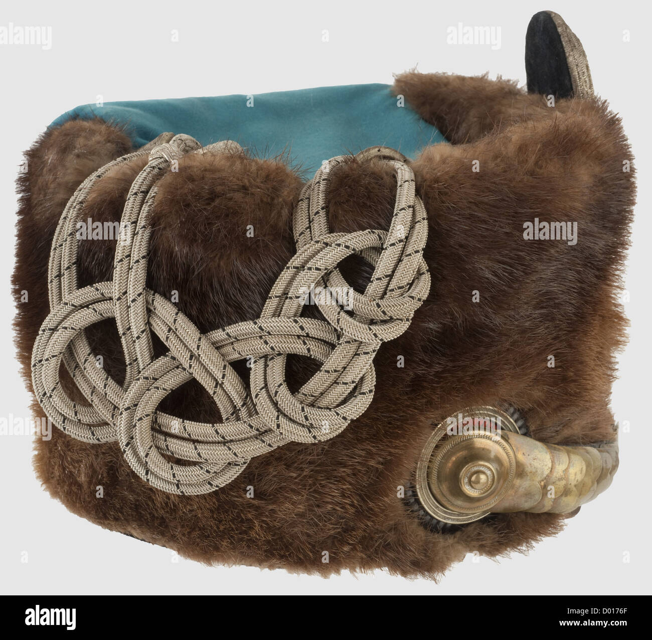 A busby for officers, of the Hussar Regiment No. 8. Possum skin, silver fatherland scroll, convex metal chinscales, - Stock Image