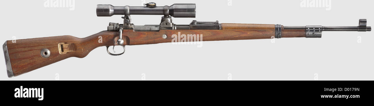 A scope rifle 98 k, Mauser, with high top-hinged mount and scope ZF Ajack, cal. 8 x 57, no. 5713. Matching numbers. - Stock Image