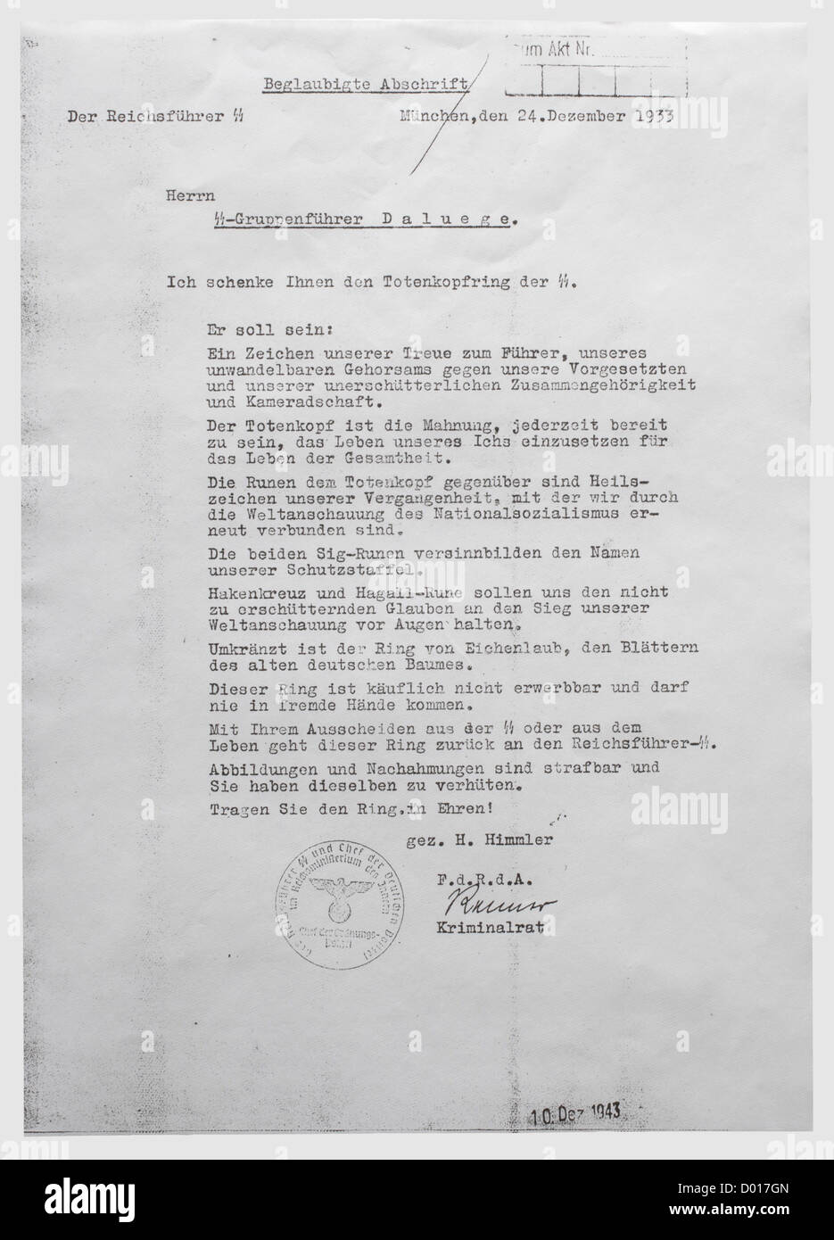 An award document for the SS Totenkopf Ring to SS-Gruppenführer and Reichsleiter Walter Darré, dated 24 - Stock Image