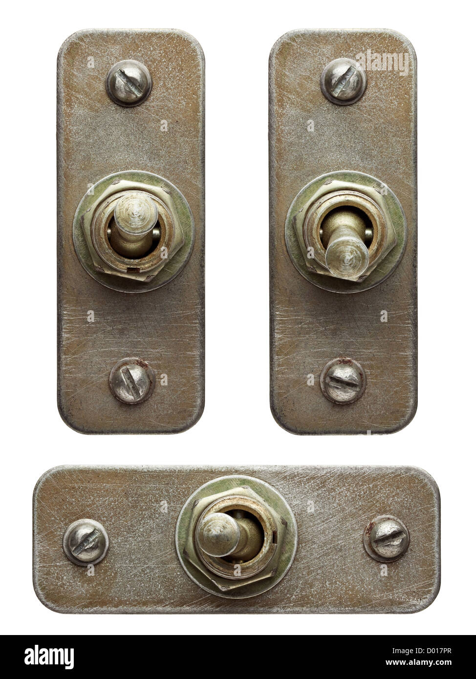 Aged metal toggle switches set. - Stock Image