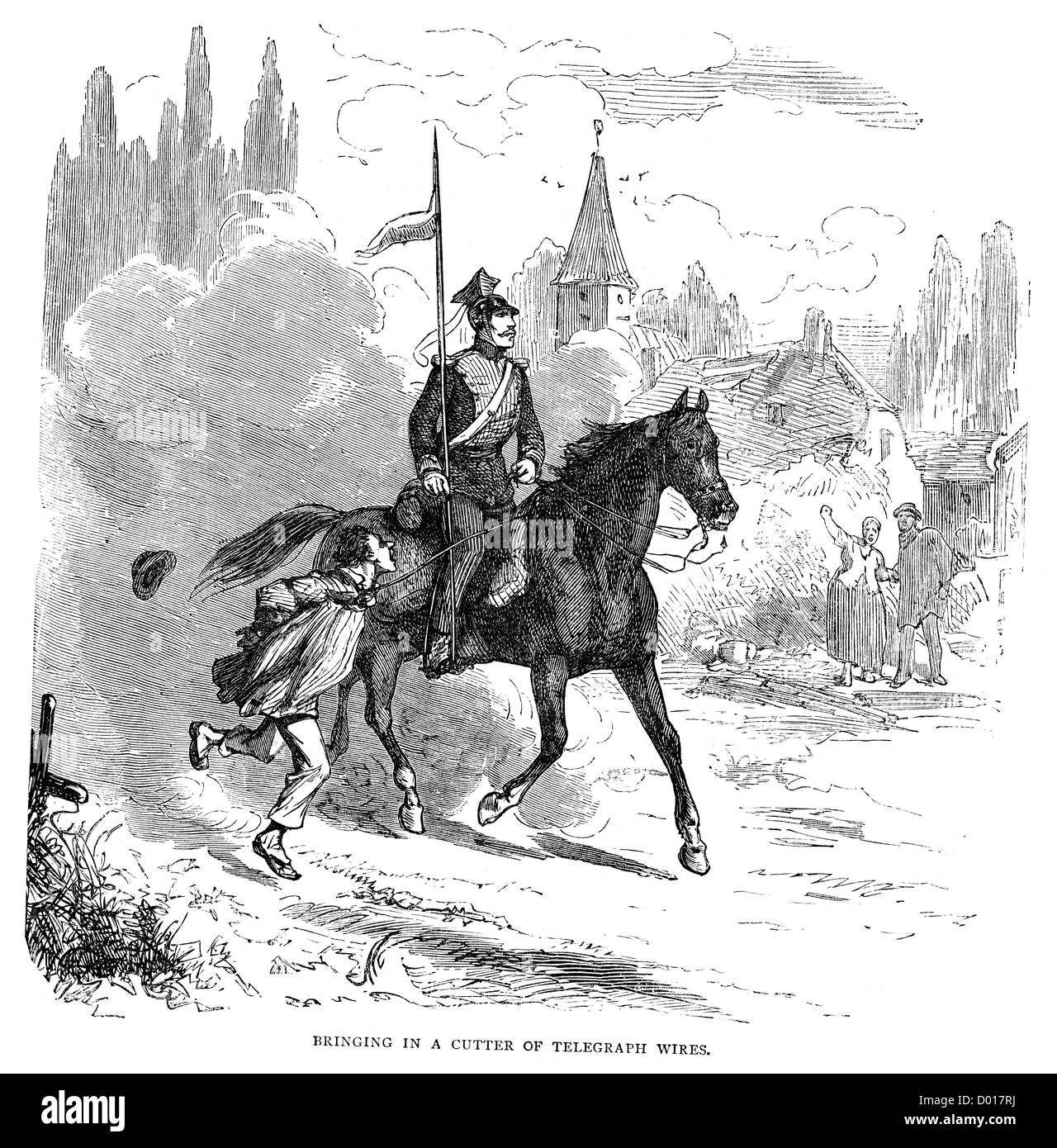 A lancer with a captured saboteur during the Franco Prussian War Stock Photo