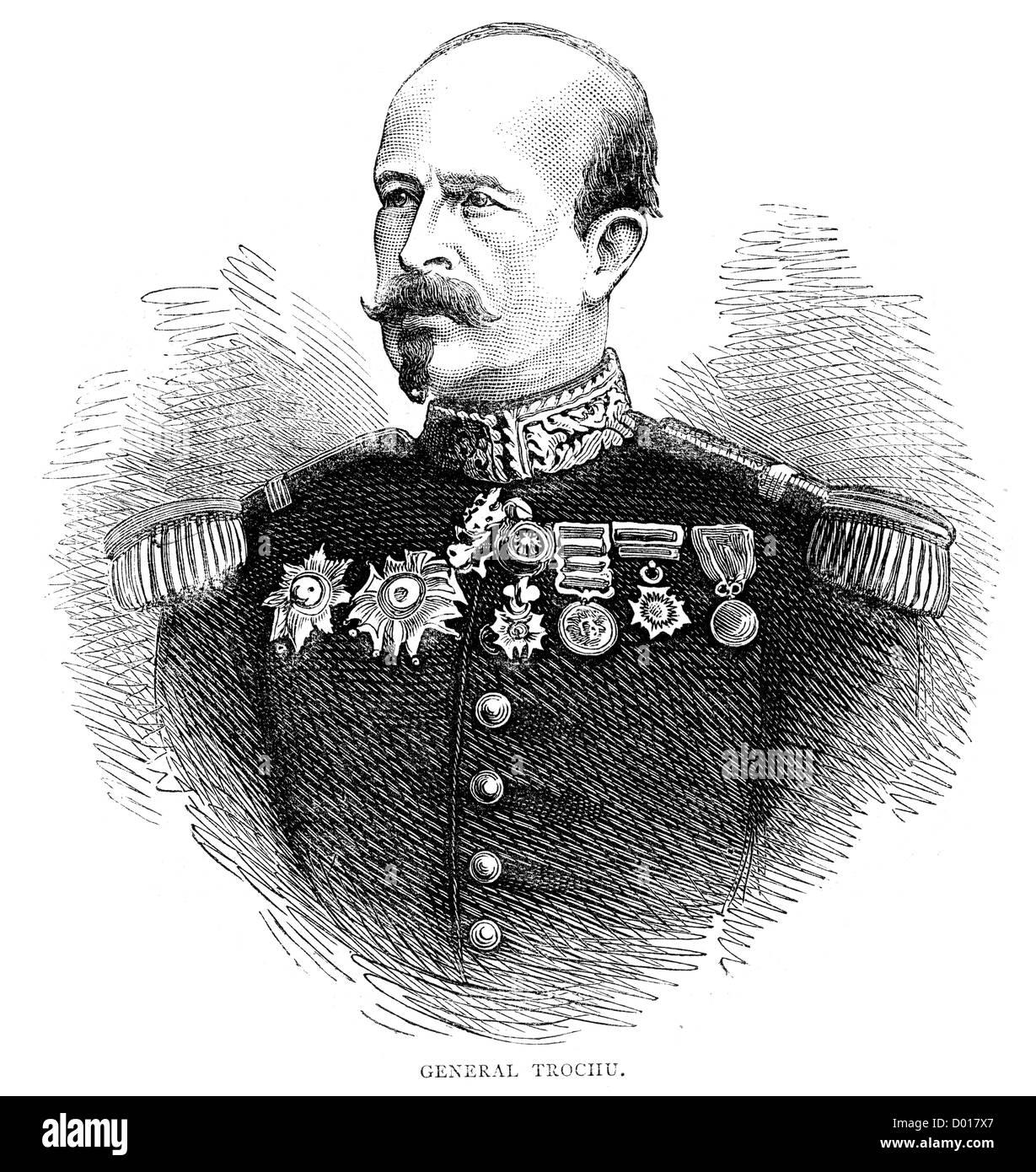 Louis Jules Trochu, a French military leader and politician, during the Franco Prussian War - Stock Image
