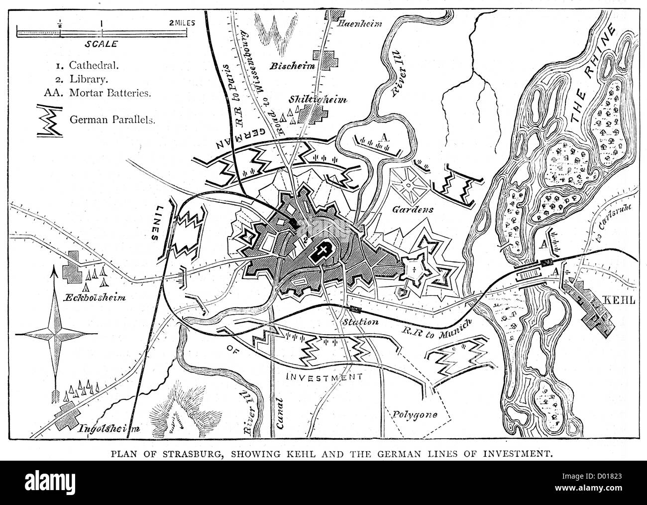 Map of the Siege of Strasbourg, which took place during the Franco-Prussian War - Stock Image
