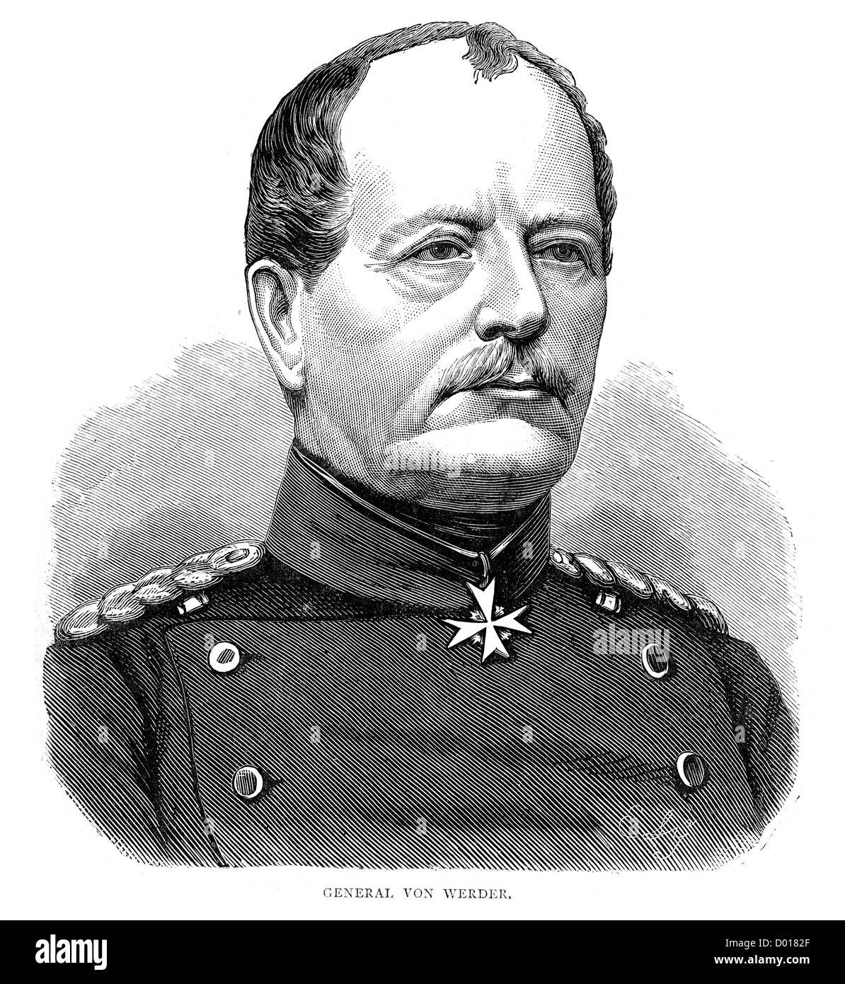 August von Werder, a Prussian general during the Franco Prussian War - Stock Image