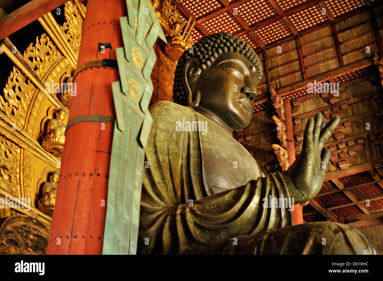 The great bronze statue of Buddha at Todaiji temple, Nara, Japan Stock Photo