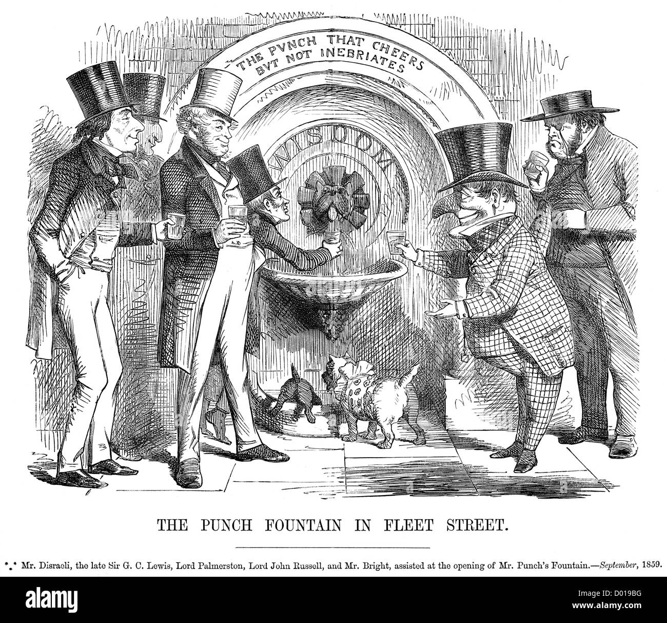 Disraeli, Lord Palmerston, and John Russell at Mr Punch's Fountain, September 1859 - Stock Image