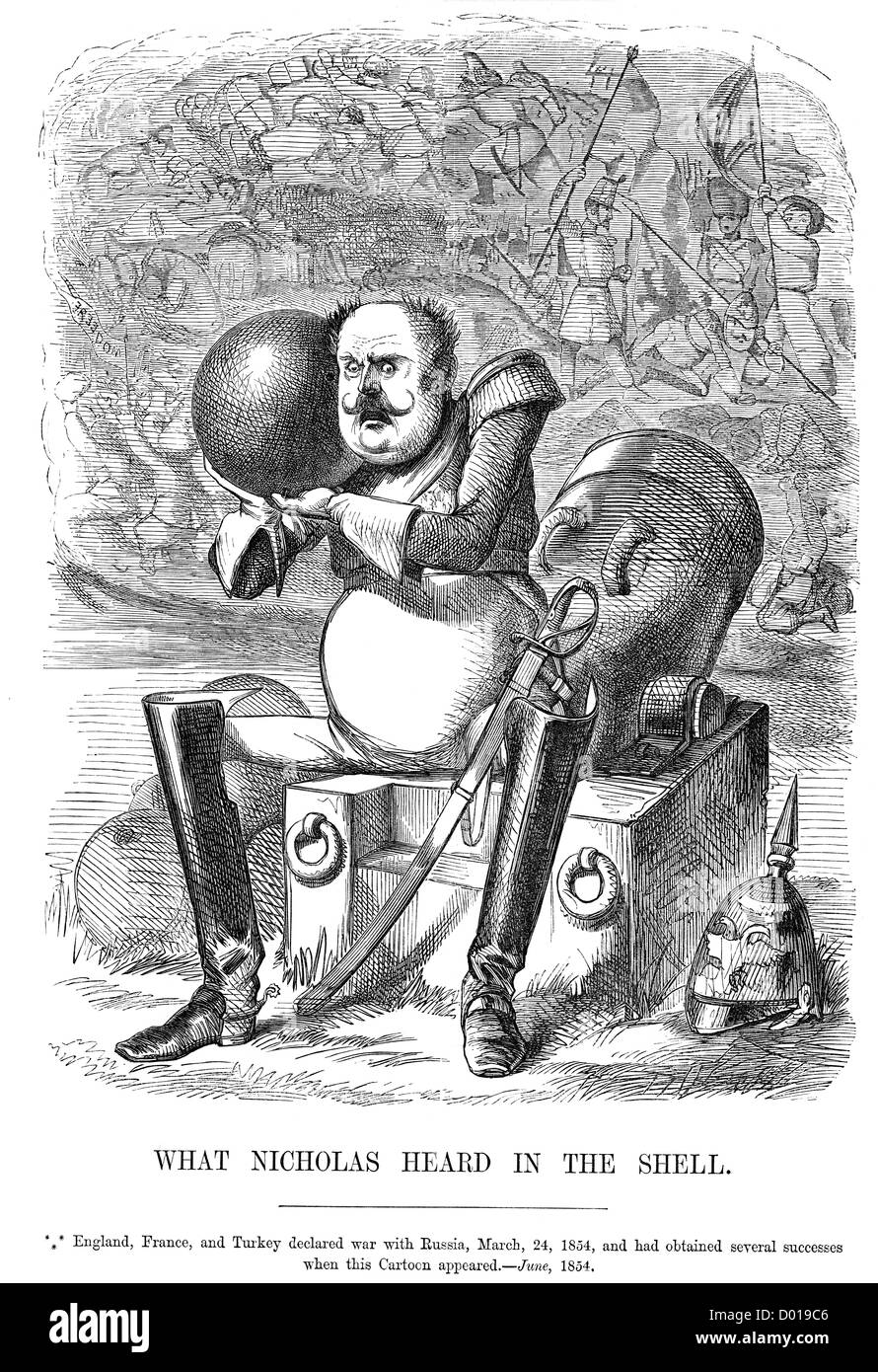 Caricature of Tsar Nicholas I of Russia at the start of the Crimean War. - Stock Image