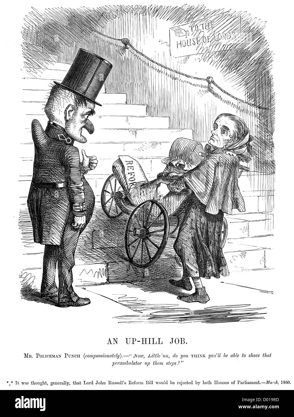 An Up Hill Job. Caricature of Lord John Russell and his Reform Bill, March 1860 - Stock Image
