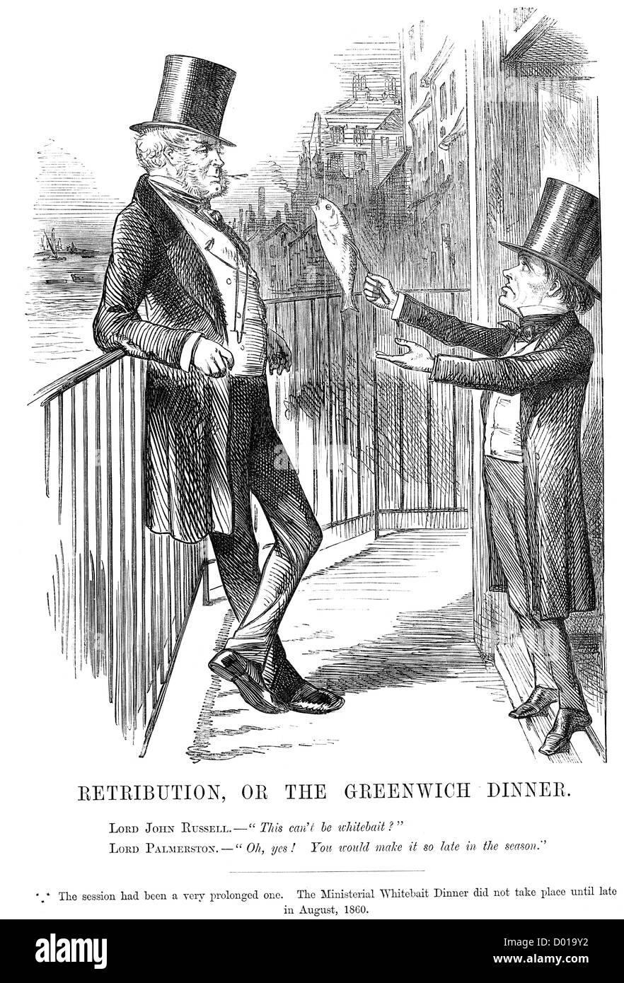 Retribution or the Greenwich Dinner. Political cartoon showing Lord John Russell and Lord Palmerston, August 1860 - Stock Image