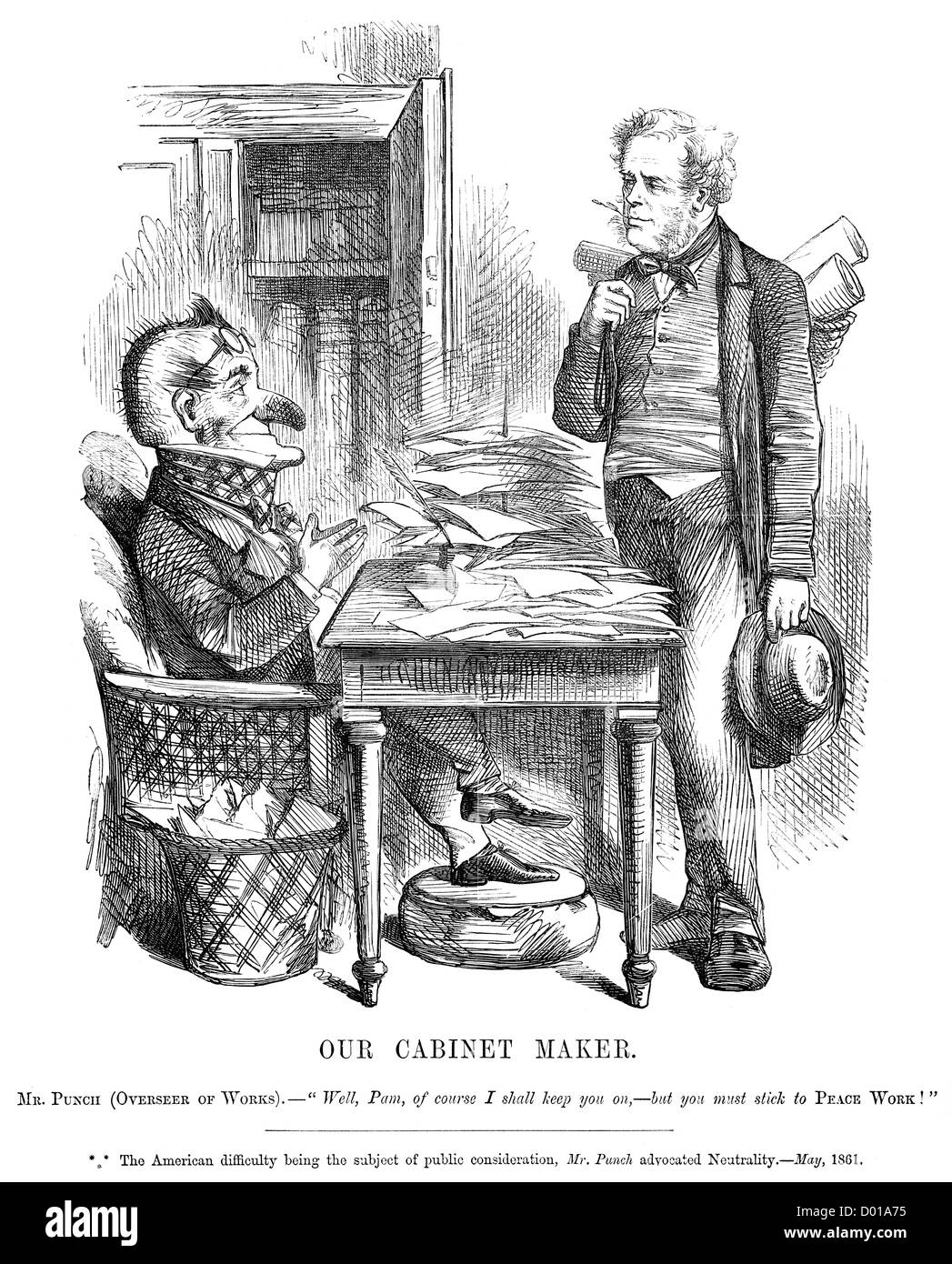 Our Cabinet Maker. Political cartoon about British reaction to the American Civil War, May 1861 - Stock Image