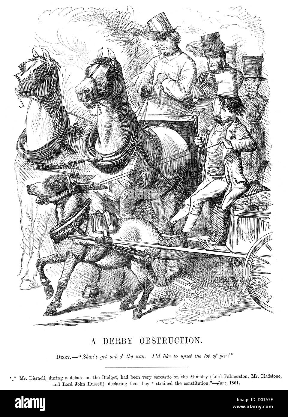 Derby Obstruction. Political cartoon about Disraeli attacking the ministry of Palmerston, Gladstone and Lord John - Stock Image